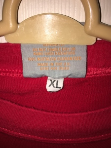 Toffs England jersey. Made in the UK. Label detail view.