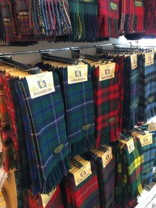 Ingles Buchan scarves on display in a shop in Drumnadrochit, Scotland.