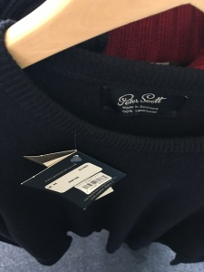 A made in Scotland Peter Scott jumper on sale in the gift shop at Inverness Airport. Photograph by author.