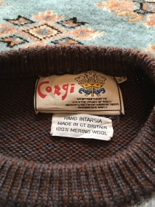 Vintage Corgi mountineering motif men's jumper, size 44, 100% merino wool, made in UK Label detail. Photograph by author.