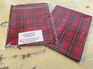 Tilly Charles small tartan cotton handkerchief. Made in England. Photograph by author 22 Feb 2017.