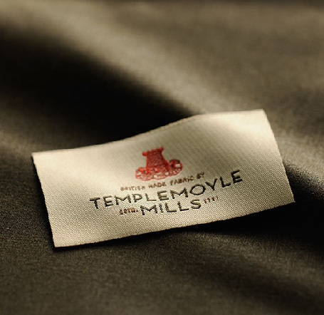 "Templemoyle Mills label saying ""British made fabric by Templemoyle Mills""."