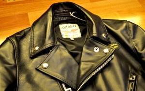 Lewis Leathers Aviakit Black Horsehide Cyclone 441T. Label detail. Made in England
