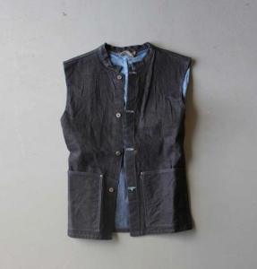 Tender type 612 Work Vest. Made in England using Japanese cotton denim and English cotton lining.