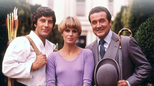 Gareth Hunt (as Gambit), Joanna Lumley (as Purdey) and Patrick Macnee (as Steed) in the New Avengers, 1976-1977