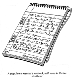 A page from a reporter's notebook, with notes in Teeline Shorthand.