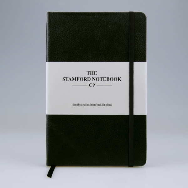 The Recycled Leather Stamford Notebook in black. Made in Great Britain. Available in 4 sizes and a variety of colours.