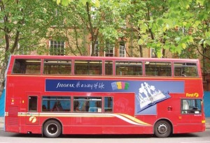 Photograph of a London bus during the 2008 Filofax 'It's a way of life' ad campaign.