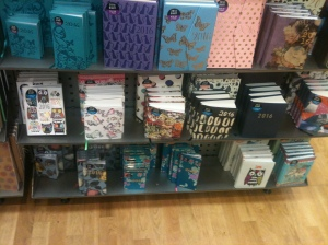 Some of the diaries in this display in Paperchase in Reading are made in the UK.
