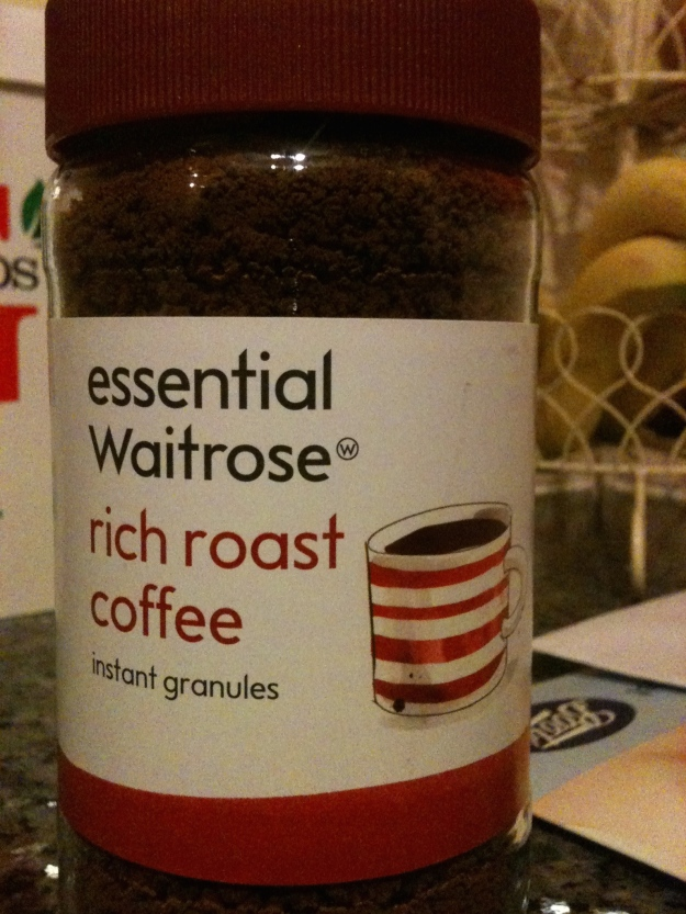 Essential Waitrose Rich Roast Coffee instant granules. Front view. Note country of origin is no longer given. Presumably this Waitrose coffee is now foreign made.