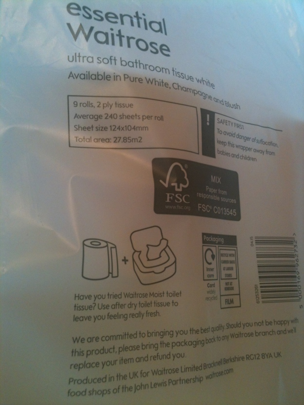 "Waitrose Essential uktra soft bathroom tissue white - labelled ""Produced in the UK""."