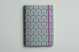 Ink and Thread A6 Notepad - Blue & Navy Grafika. Printed in England.
