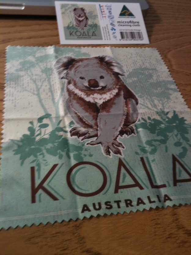 Koala Australia microfibre cleaning cloth. Australian Made. Photograph by author.