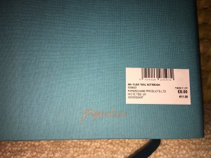 Paperchase A6+ Flexi Teal Notebook. Made in UK. Label detail.
