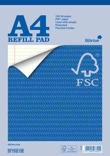 Silvine A4 refill pad. Made with care in the UK.