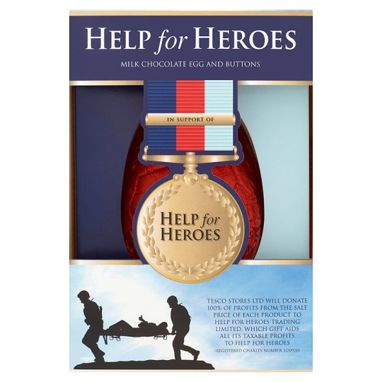 Tesco Help For Heroes Egg 187G. Made in the UK.